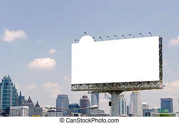 ville, grand, fond, vide, panneau affichage, route, vue