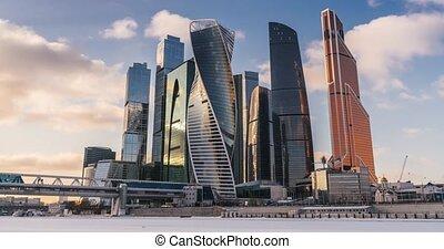 ville, gratte-ciel, business, chronocinématographie, moscou, centre
