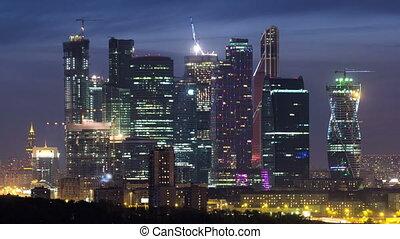 ville, gratte-ciel, business, timelapse, moscou, nuit, international, russie, jour, centre