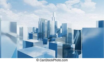 ville, gratte-ciel, chicago, résumé, 4k, miroir, 3d