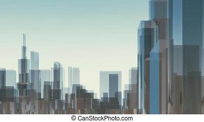 ville, gratte-ciel, chicago, résumé, animation, 4k, 3d