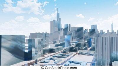 ville, gratte-ciel, chicago, résumé, en ville, 3d
