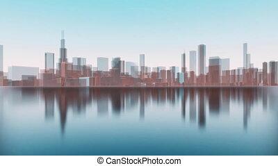 ville, gratte-ciel, chicago, reflété, eau, 4k, 3d