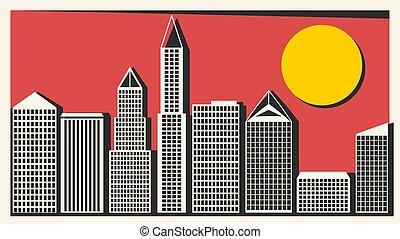 ville, gratte-ciel, grand, illustration, vecteur, conception...