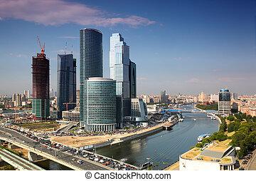 ville, gratte-ciel, panorama, moscou, moscou, complexe,...