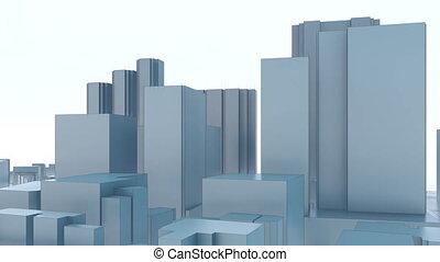 ville, gratte-ciel, résumé, 4k, minimalisme, 3d