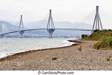 ville, greece., patras, plus grand, mondiale, localisé, longueur, pont, câble, stayed