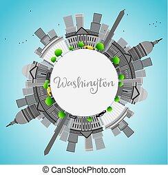 ville, gris, repères, washington dc, space., horizon, copie
