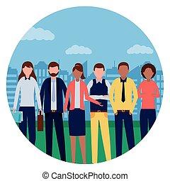 ville, groupe, professionnels, parc, équipe