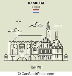 ville, haarlem, repère, netherlands., salle, icône
