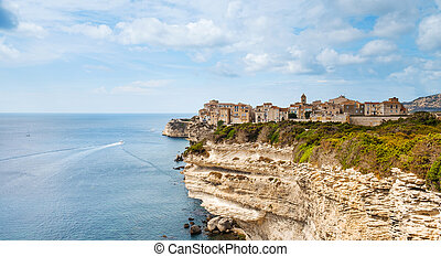 Ville Haute, the old town of Bonifacio, France - a view of ...