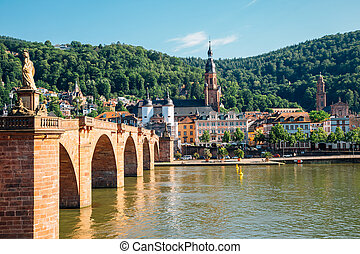 ville, heidelberg, pont, allemagne, vieux