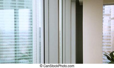 ville, heureux, grand, fenêtre, confiant, venir, homme affaires, apprécier, vue
