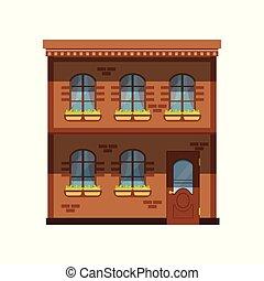 ville, histoire, maison, deux, illustration, vecteur, façade, bâtiment