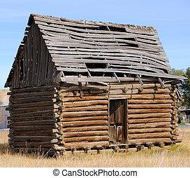 ville, historique, utah, cabine