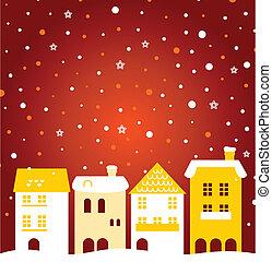 ville, hiver, coloré, neige, derrière, noël