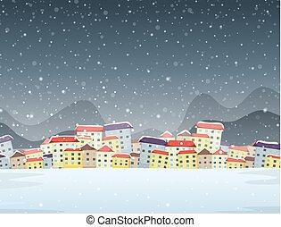 ville, hiver, fond, nuit