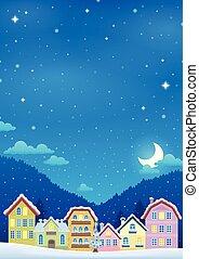 ville, hiver, image, thème, 2, noël