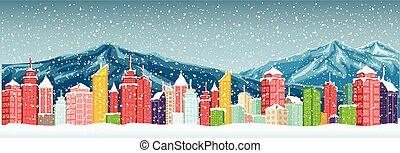 ville, hiver, montagne