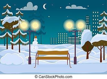ville, hiver, neigeux, parc, illustration, vecteur