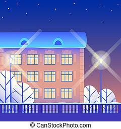 ville, hiver, nuit