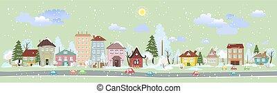 ville, hiver, panorama, conception, ton, paysage