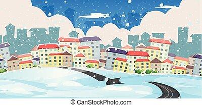 ville, hiver, route, grand