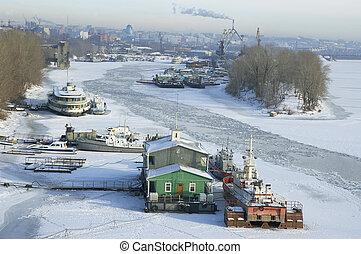ville, hiver, surgelé, samara, rivière volga, russie