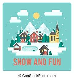 ville, hiver, temps neige, amusement, montagnes