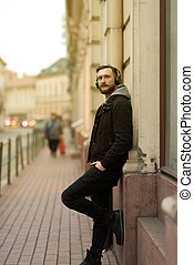 ville, homme, hipster, portrait
