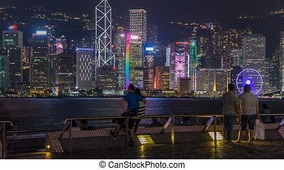 ville, hong, gratte-ciel, urbain, port, sur, timelapse, ciel, kong, horizon, nuit, hyperlapse., victoria, clair