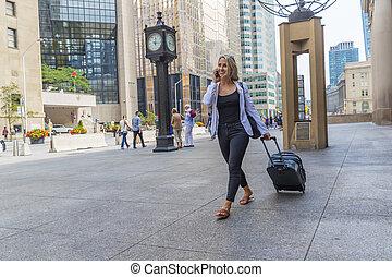 ville, hongrois, transit, grand, masse, utilisation, blond, agréable, modèle
