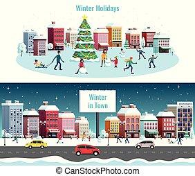 ville, horizontal, hiver, bannières