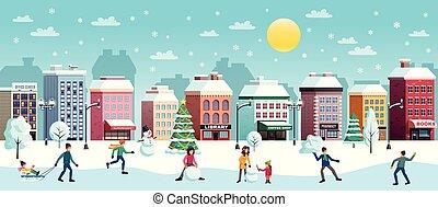 ville, horizontal, hiver, illustration
