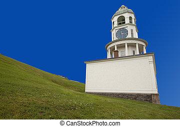 ville, horloge, historique, colline, halifax, citadelle