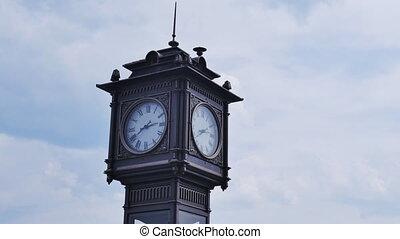 ville, horloge, timelapse couvre, fond, tour