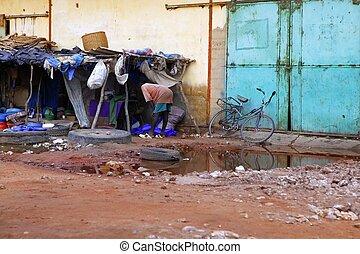 ville, humble, afrique, scène, sénégal, rue
