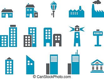 ville, icône, ensemble