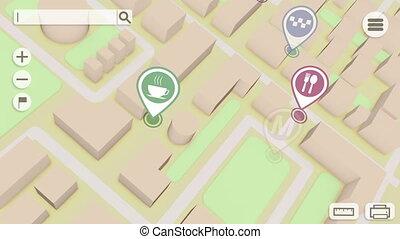 ville, icônes, marqueurs, carte, perspective, gps