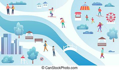ville, illustration., activités, carte, sommet, gens, parc, vecteur, divers, fond, vue, hiver