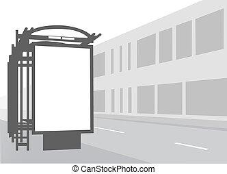 ville, illustration., autobus, stop., noir, publicité, panneau affichage, blanc