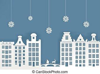 ville, illustration., claus, neige, sledge..eps, santa, noël