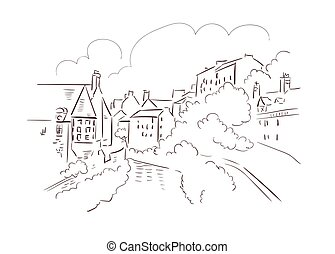 ville, illustration, croquis, edimbourg, royaume, vecteur, ...