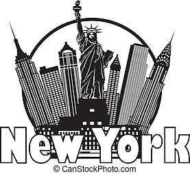 ville, illustration, horizon, noir, york, nouveau, cercle blanc
