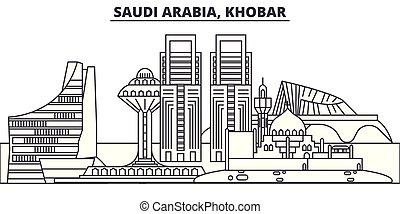 ville, illustration., linéaire, arabie, repères, saoudien, célèbre, horizon, vecteur, vues, cityscape, ligne, paysage., khobar
