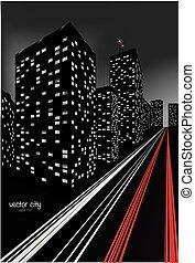 ville, illustration, nuit