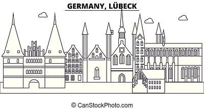 ville, illustration., paysage., lubeck, repères, célèbre, horizon, vecteur, vues, cityscape, ligne, allemagne, linéaire