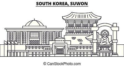 ville, illustration., paysage., suwon, repères, corée, célèbre, horizon, vecteur, vues, cityscape, ligne, sud, linéaire