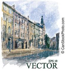 ville, illustration, rue.