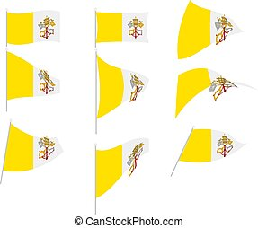 ville, illustration, vecteur, ensemble, vatican, drapeau